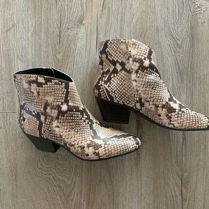 INC faux snake skin ankle booties